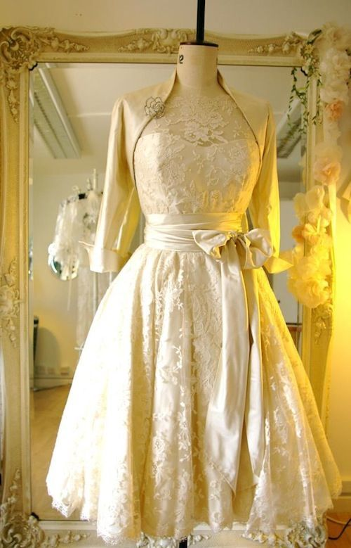 240 best vintage tea length wedding dresses images on for Tea length wedding dress with bolero jacket