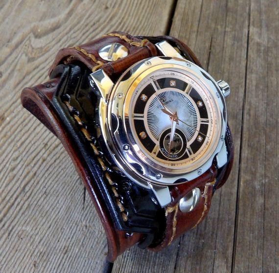144e Brun, manchette en cuir, montre or, montre au poignet en cuir, montre des hommes, montre manchette en cuir, cadeau homme, cadeau d