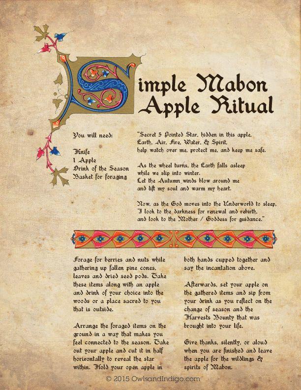 Simple Mabon Apple Ritual BOS Page from owlsandindigo.com