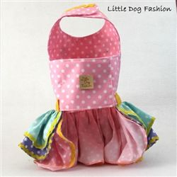 Light Pink Green Hand Painted Flower Dresses for Dogs