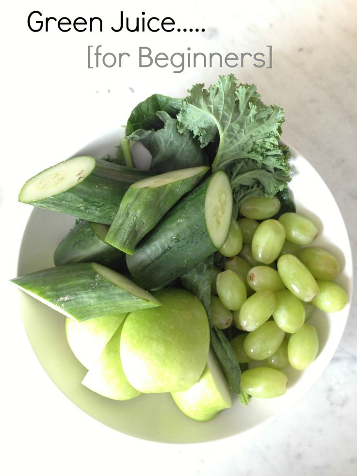 Green Juice recipe 5 kale leaves (stalks removed) 1/2 cup baby spinach 1 cup green seedless grapes (approx. 20 grapes) 1 small granny smith apple 1 english cucumber