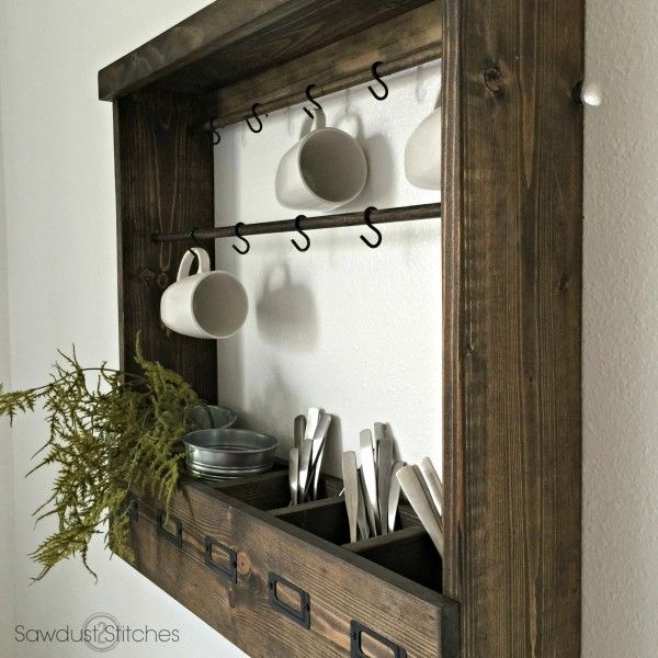 Step-by-step build plans to create a beautiful Pottery Barn Inspired Mug Rack at a fraction of the cost! It also has versatile options to fit any space!