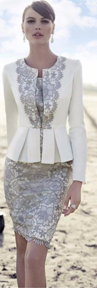 Mother of the Bride- Two Piece Satin Suit Skirt with Lace Applique