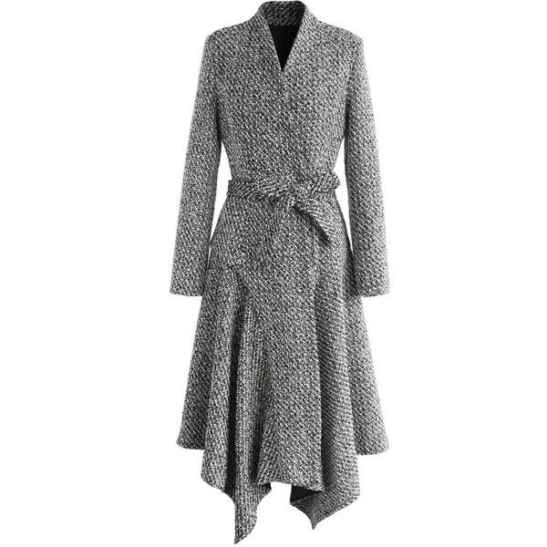 Chicwish Marvelous Asymmetric Tweed Longline Coat ($101) ❤ liked on Polyvore featuring outerwear, coats, grey, gray tweed coat, grey waist belt, gray wrap coat, grey wrap coat and longline coat