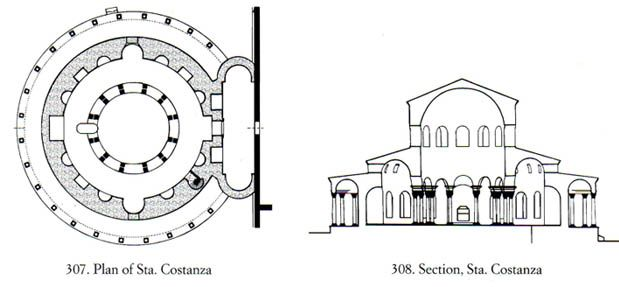 B - Plan and Section of Sta. Constanza, Rome.    History of Art: Architecture and Sculpture
