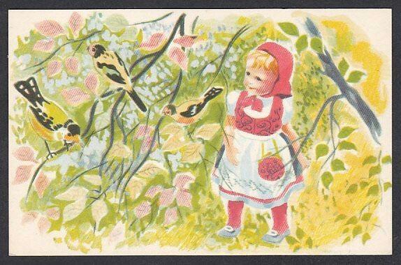 Kunstnerkort Nora Axe - Pike og fugler. Utg Oppi