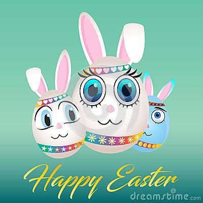Happy Easter egg family with bunny face on it. Big eyes and big ears. Ribbon with hearts on head and rainbow ribbon with flowers. Ribbon with eggs and stars. Gold font hand write word text with message on green background.