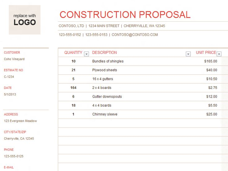 Image result for construction business forms templates