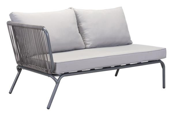 Pier Outdoor Left Arm Facing Double Seat Sectional Sofa Unit in Gray Aluminum