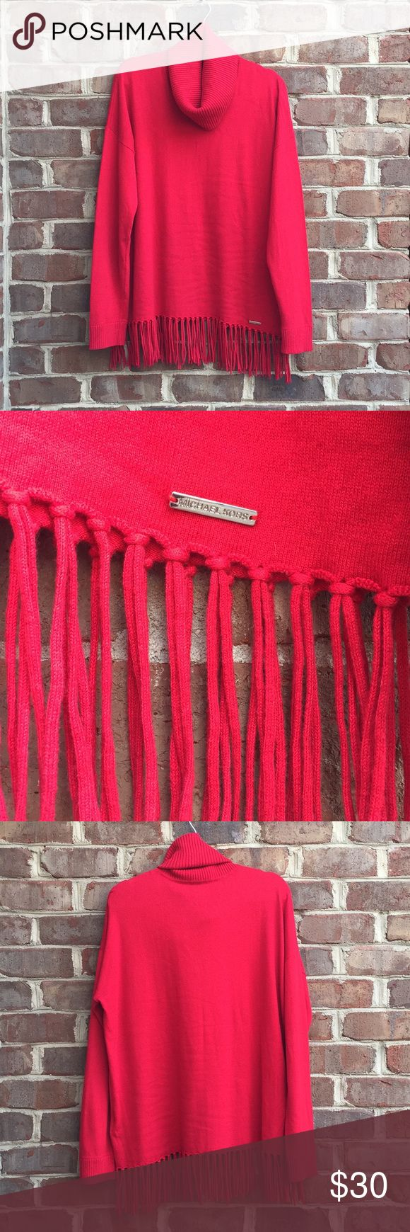 Women's Michael Kors sweater 🎄 Women's Michael Kors sweater. Red with tassels. Excellent condition! Cowl neck. Size XL. 🎄 Free gift if you spend $50 or more on listings with a Christmas tree emoji! Michael Kors Tops