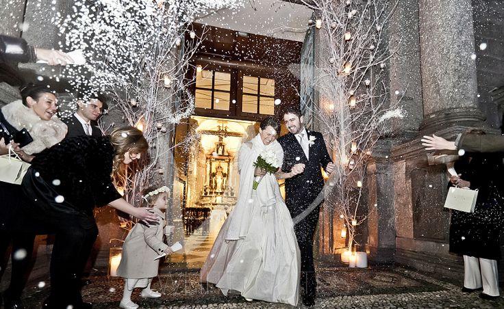 Wedding rice among wedding snowflakes.