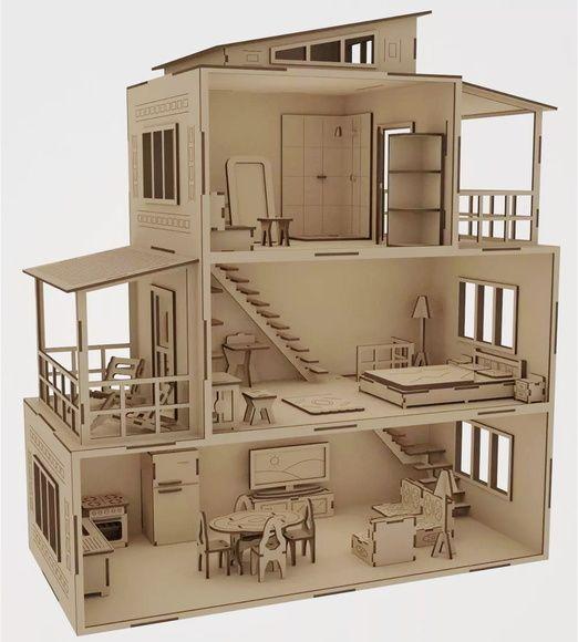 Casa de Bonecas Mobiliada MDF