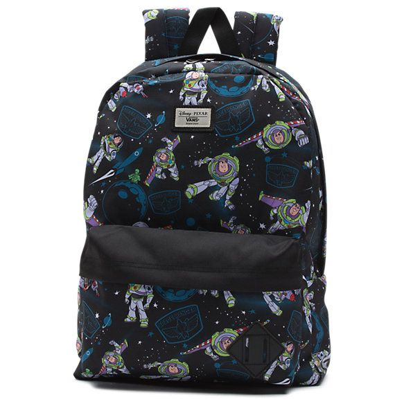 """Vans and Disney•Pixar Pixar go """"to infinity and beyond!"""" for a collection inspired by Andy's favorite toys from the original Toy Story movie. Featuring an allover print of Buzz Lightyear, the Toy Story Old Skool II Backpack is a 100% polyester backpack with one large main compartment and a front zip pocket with an organizer for quick access. Measuring 16.5 L x 12.75 W x 4.75 D inches, it has a 22-liter capacity."""