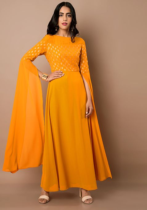 a0b16183c25 Mustard Yellow Maxi Tunic With Extra Long Sleeves #Fashion #Indya  #Traditional #Clothing #Trending #Summer #GoingOut #InstaLove #LongSleeves  #MaxiTunic