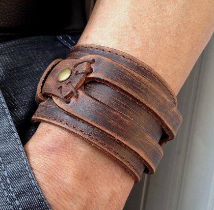 "$12.50. Antique Men's Brown Leather Cuff Bracelet Leather by pier7craft...8"" measurement around inside closed (this is tightest measurement...both sides touching)  SIZE: Wear suitable for ( 7 1/2"", 8"" , 8 1/2"" -,9 "")any size.Adjustable With metal Studs"