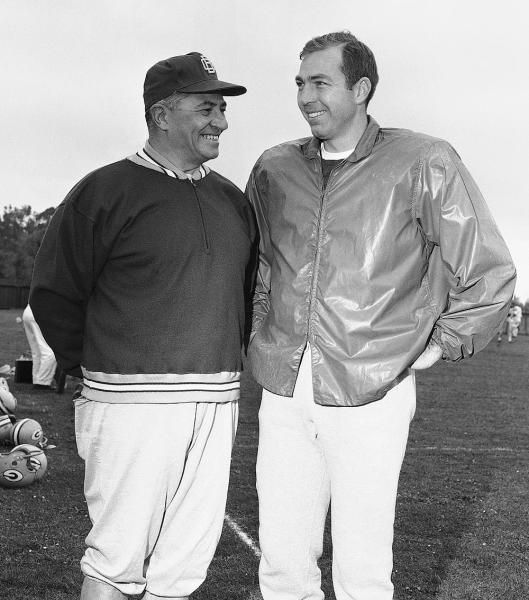 Quarterback Bart Starr, right, and coach Vince Lombardi of the Green Bay Packers