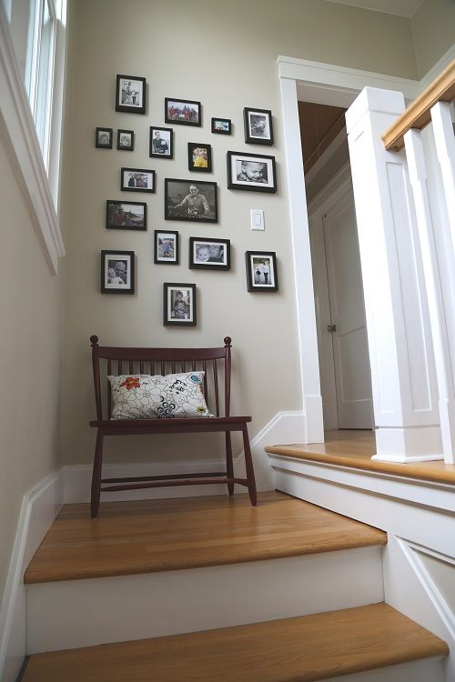 Family Photo Wall, Living With Kids: Cory Kallfelz: Tops Stairs, Ideas, Photo Display, Front Entry Exterior Stairs, Families Photo Wall, Photo Arrangement, Family Photo Walls, In This House, Kid