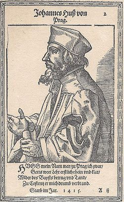 Jan Hus (/hʌs/;[1] Czech: [ˈjan ˈɦus] ( listen); c. 1369 – 6 July 1415), often referred to in English as John Hus or John Huss, was a Czech priest, philosopher, early Christian reformer and Master at Charles University in Prague. After John Wycliffe, the theorist of ecclesiastical Reformation, Hus is considered the first Church reformer, as he lived before Luther, Calvin and Zwingli.