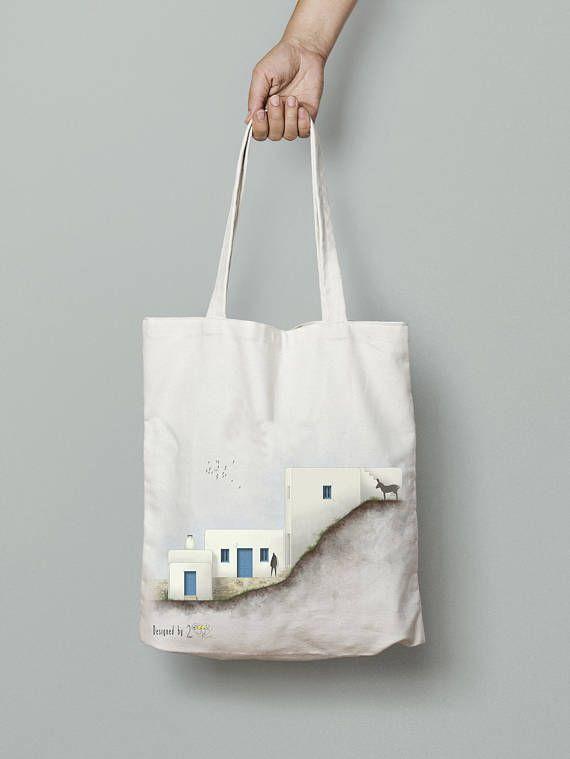 Tote bag canvas, printed tote bag, Shopping bag, Shoulder bag, Cotton tote bag, hand drawn art, greek art, Everyday carry, Amorgos house 3