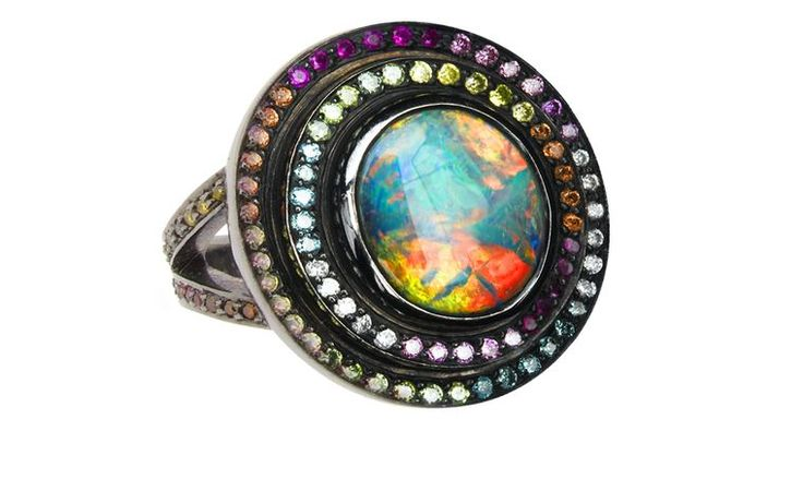 Solange Azagury-Partridge, Opal Fruit ring in blackened white gold and opal. Price from £28,600