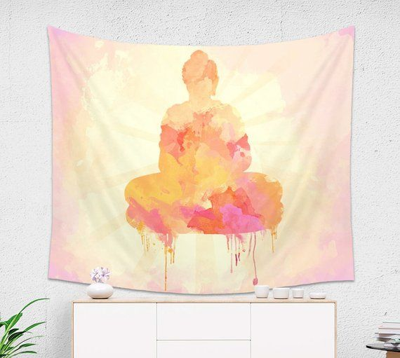 Yellow And Pink Buddha Tapestry Watercolor Tapestry Pink
