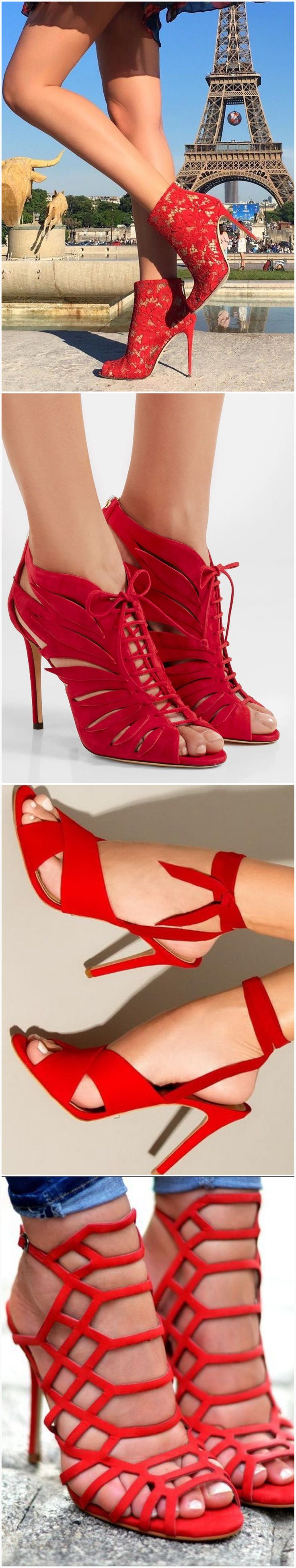 Vivid red designer heels - especially love the last pair!