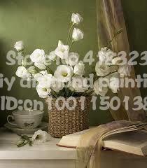 Шарфы и белые цветы diy алмаз живопись круглый смолы ремесла горный хрусталь вставить мода декоративные холст paintingsHT