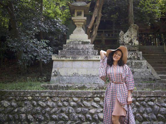 Cotton Floral Yukata, Bold Summertime Kimono Robe