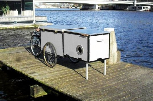Small Bike Shelters : Housetrike bike camper is a tiny shelter on wheels that