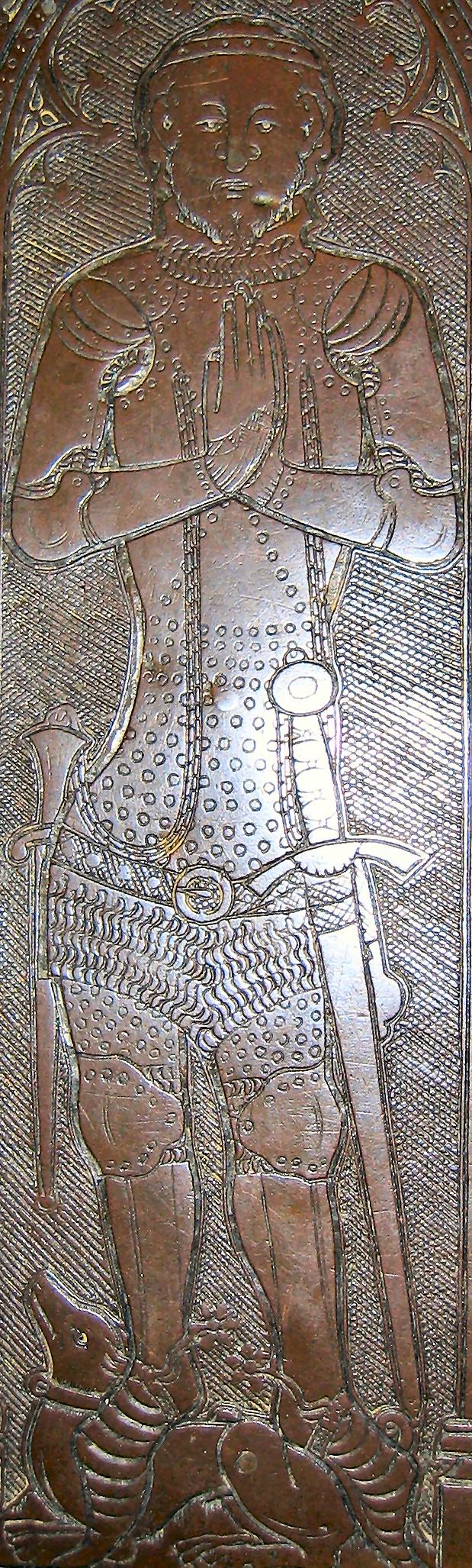 Ralph de Knevyton, died 1370    Aveley. Tiny waist, hip pop, and stepping on a wiener dog!