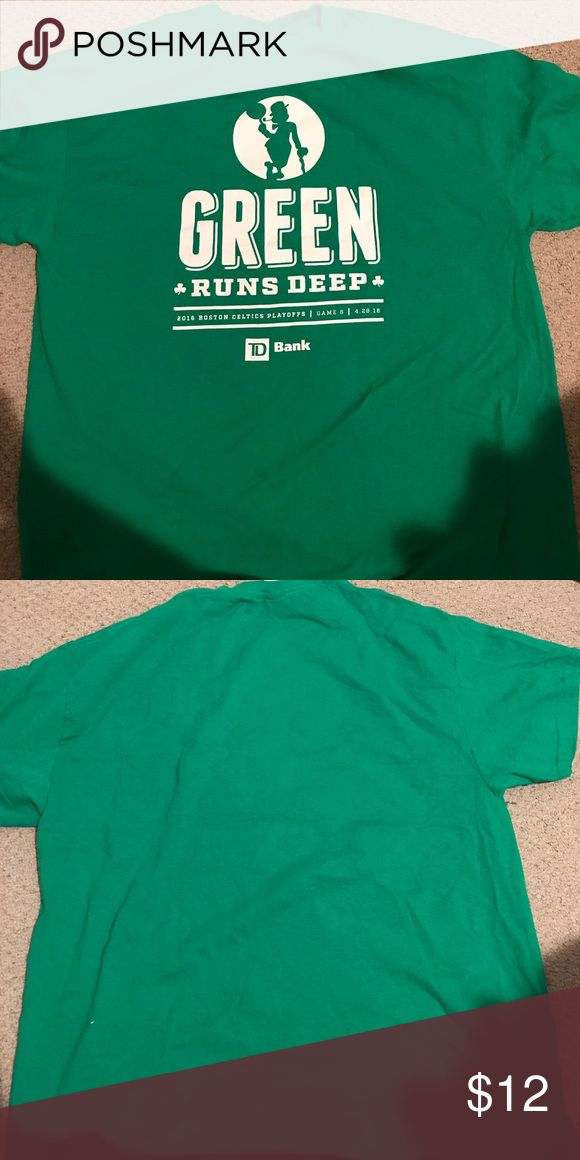 Boston Celtics Playoff Shirt This is an extra large green shirt featuring the Celtics logo from the 2016 playoffs on game 6. Gildan Shirts Tees - Short Sleeve