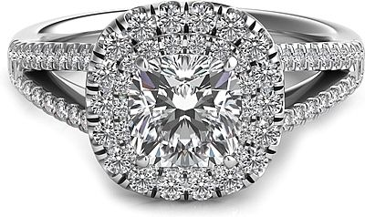 Double Row Cushion Halo Split Shank Engagement Ring : Two rows of pave-set diamonds in a cushion shaped halo surround your choice of a center diamond is this stunning split shank engagement ring.