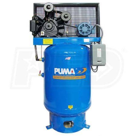 Puma Industries Air Compressor, TUK-75120VM, Professional/Commercial/Industrial Two Stage Belt Drive Series, 7.5 HP Running, 175 Voltage/Phase, 120 Gallons, 950 lbs.