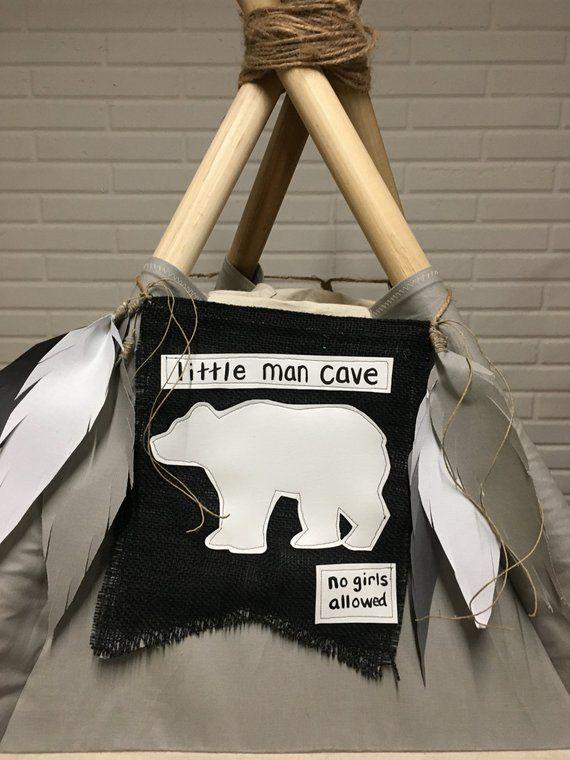 Little Man Cave Indian Tee Pee Wooden Nursery Boy/'s Room Door Sign