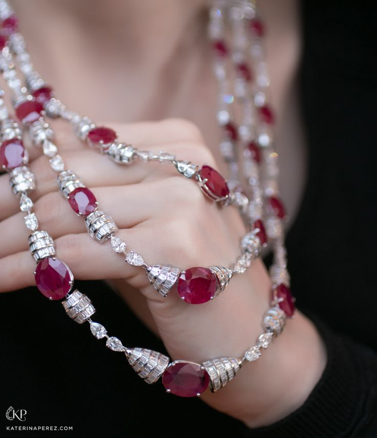 Araya necklace with rubies and baguette diamonds