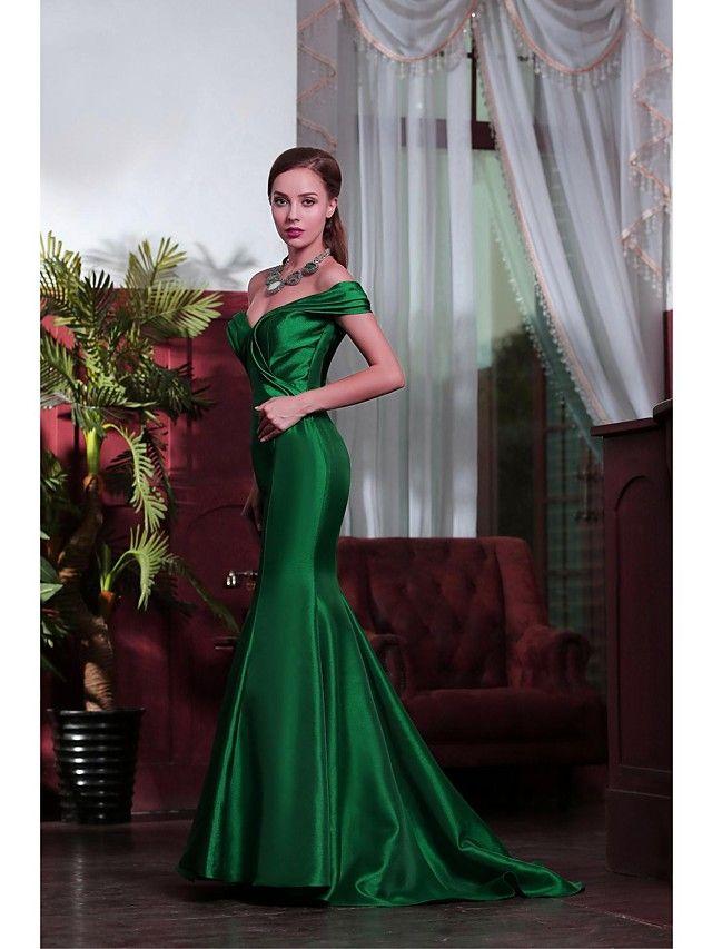 Vestido Corte Sirena - Hombros Caídos - Hasta el Suelo - MXN $2,198.13