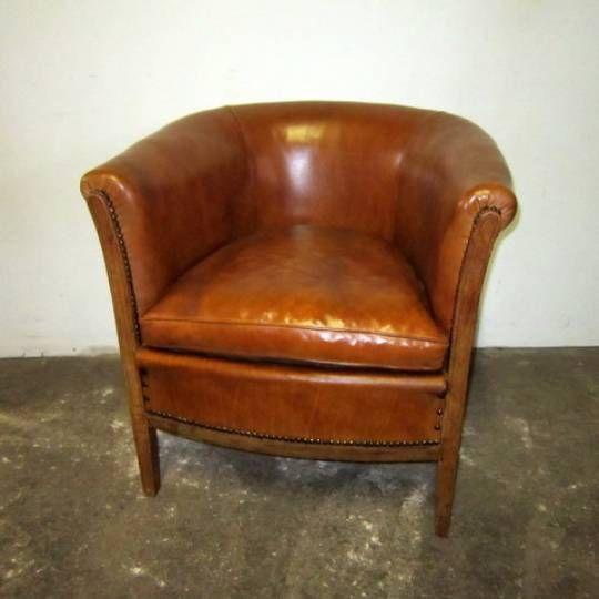 Fauteuil Cabriolet en cuir vintage