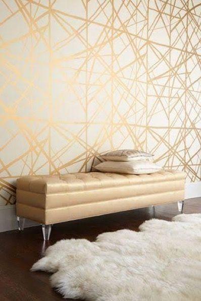 Kelly Wearstler Metallic Wallpaper. Great statement wall. Adds light & energy.