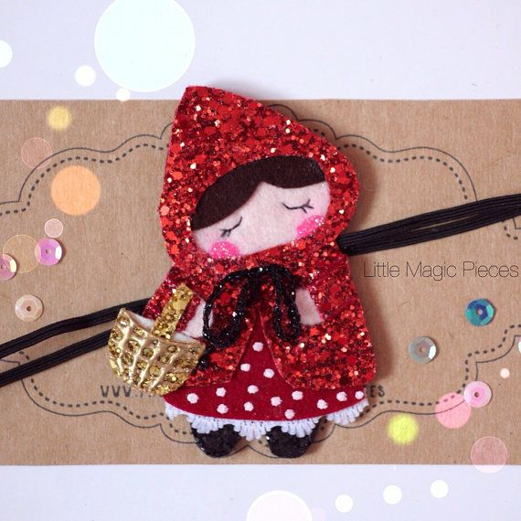 Little Red Riding Hood Headband Glitter by LittleMagicPieces