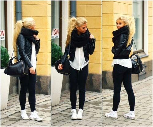 Black white scarf shirt legging clothes outfit cute winter chucks all stars