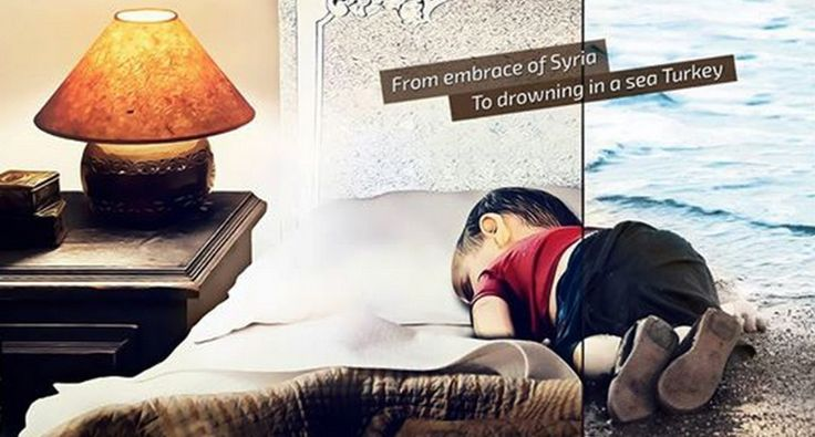 [FOTOS] Artistas dibujan a niño sirio ahogado como llamado de alerta