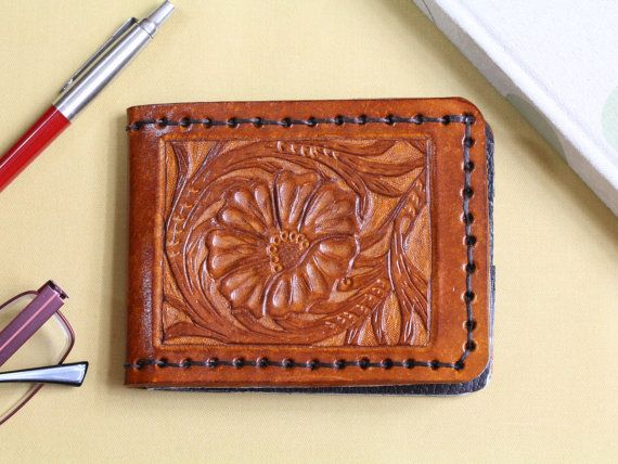 Sheridan Style Carved Leather Wallet  Men's by TinasLeatherCrafts. Repin To Remember.