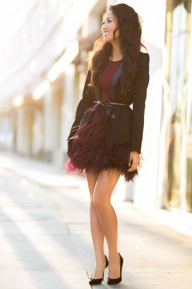 Wine :: Burgundy skirt Love this outfit!
