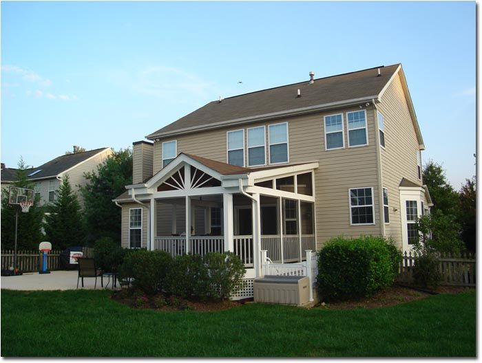 Cross Gable Porch Screened Sunroom With Walkway And Patio