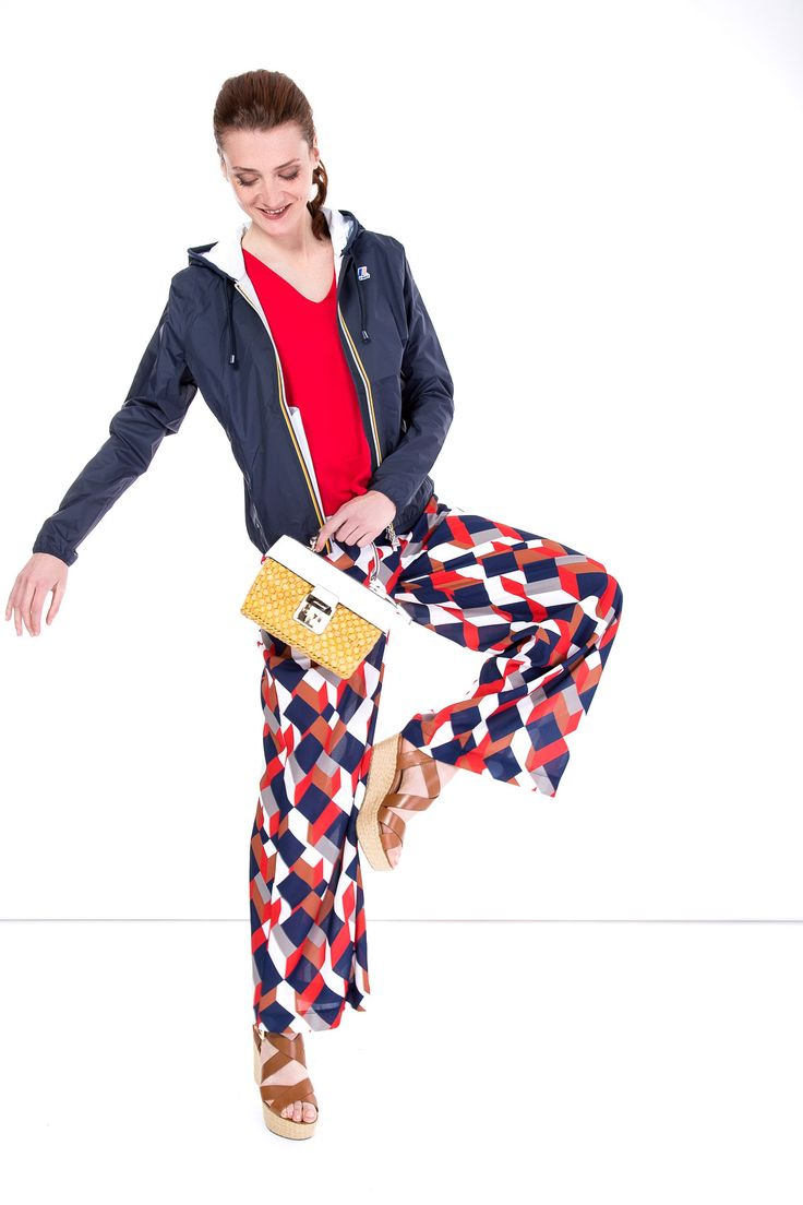 SHOP THE LOOK >  #manzetti #mymanzetti #kway #darkblue #jacket #vicolo #red #top #printed #geometric #pants #michaelkors #bag #wedges #ootd #shopthelook #photooftheday #woman #fashion #style #rome