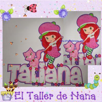 Aplique de Fresita y Cremita en Foami, más nombre(Taliana)