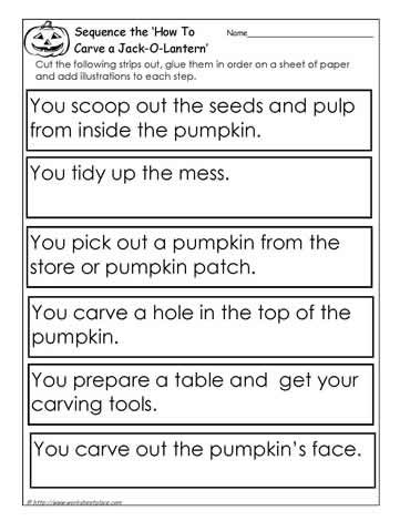 Procedural Writing - Sequence the Carve the Pumpkin UK Eduacation Good Site @ http://www.smartyoungthings.co.uk