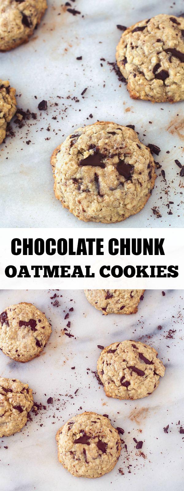 Chocolate Chunk Oatmeal Cookies | Recipe | Dark, Coconut ...