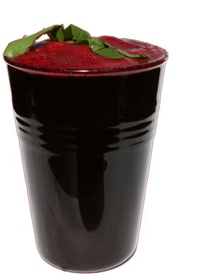 Apple, beet greens, beetroot, pear & strawberry  1 apple, chopped 4 leaves beet greens 1 beetroot, chopped 1 pear, chopped 15 strawberries