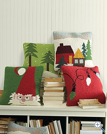 Holiday Hooked Wool Pillow Cover. I have to get some of these!